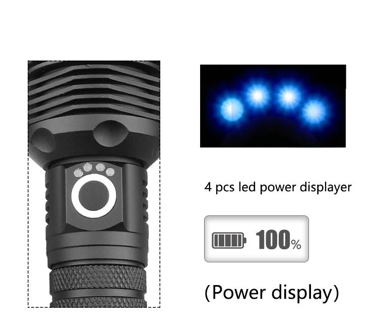 Ficklampa superstark och uppladdningsbar i aluminium Newplay