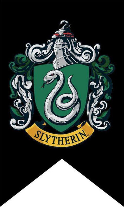 Newplay harry potter flagga vimpel svart bakgrund slytherin 1