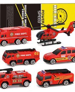 newplay leksaksbilar i metall och plast 6 pack fire brandbil