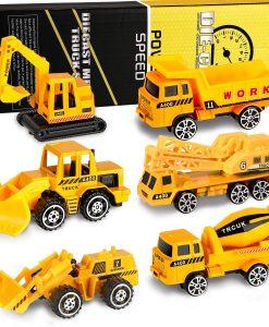 newplay leksaksbilar i metall och plast 6 pack grävare lastare 1