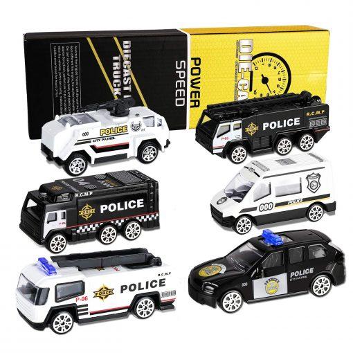 newplay leksaksbilar i metall och plast 6 pack police polis