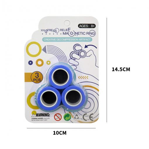Newplay magnetiska magiska ringar magnetic rings anti stress fidget blå 1