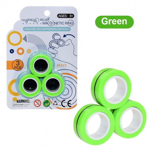 Newplay magnetiska magiska ringar magnetic rings anti stress fidget grön 1