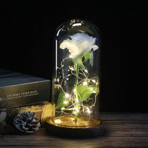 Newplay ros i plast med glaskupa och belysning grön vit 1