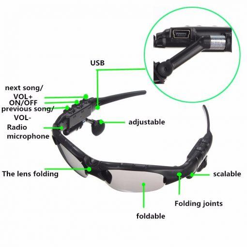Newplay sportglasögon med inbyggda bluetooth hörlurar