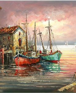 Newplay tavla måla efter nummer akryl gamla träbåtar i hamn