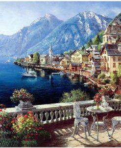 newplay tavla måla efter nummer akryl utsikt över berg och hamn