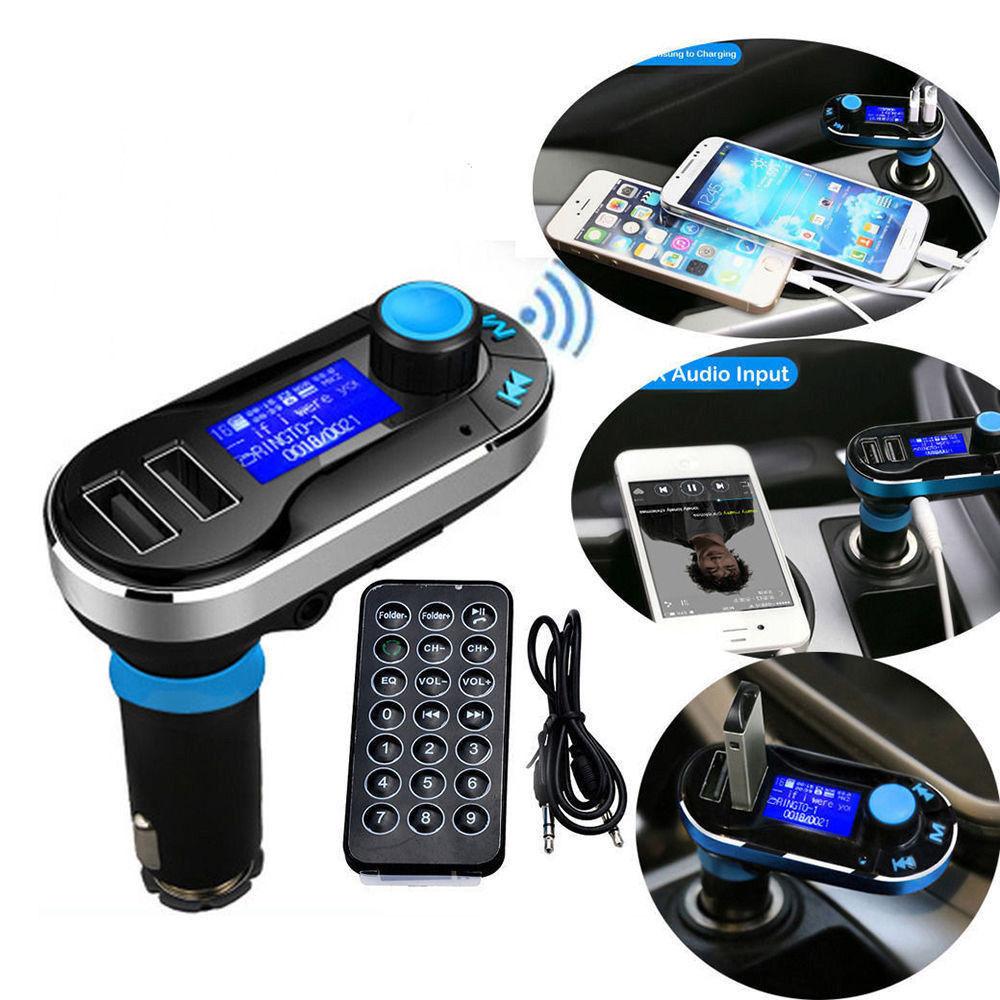 Unika Bluetooth FM-sändare till bil för samtal och musik med 2 USB AG-14